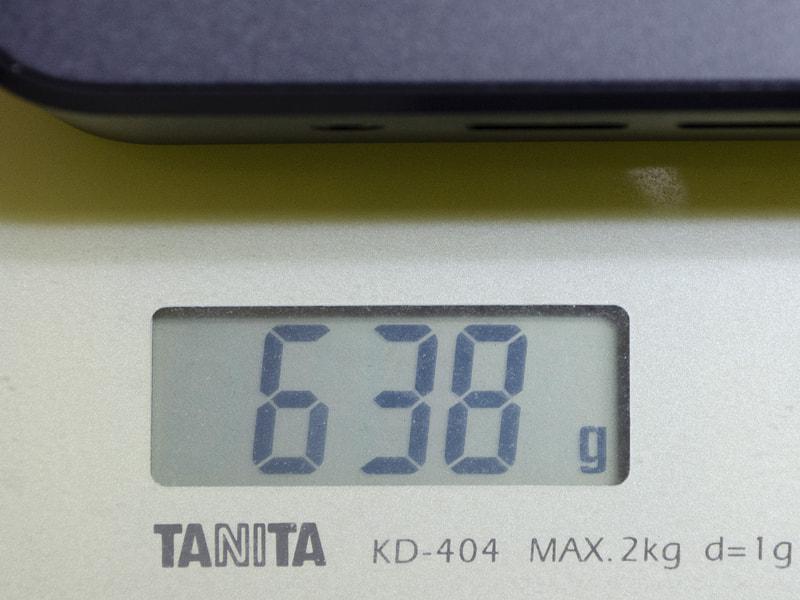 重量は実測で638g。仕様の約1kgより随分軽い