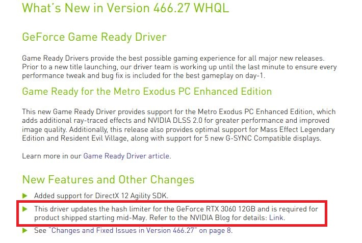 5月中旬以降のGeForce RTX 3060では466.27が必要で、その際にマイニングのハッシュレートを制限するという