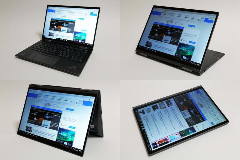 360度ヒンジにより、ノートPC、スタンド、テント、タブレットなど様々なスタイルで利用できる