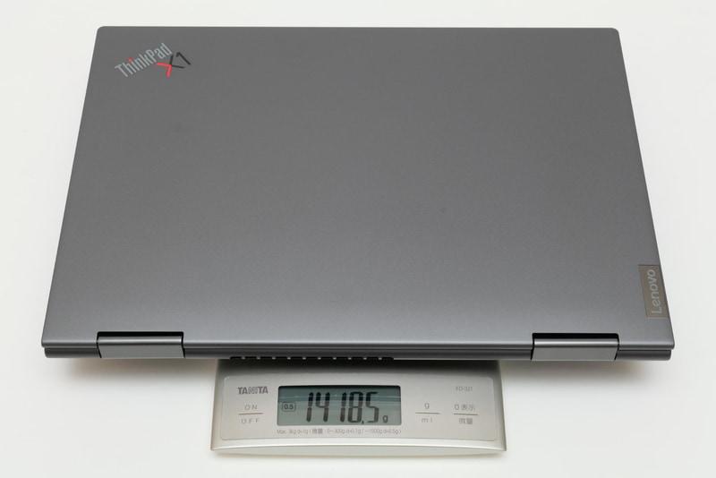 本体の実測重量は1,418.5g。構成によって重量は変わる