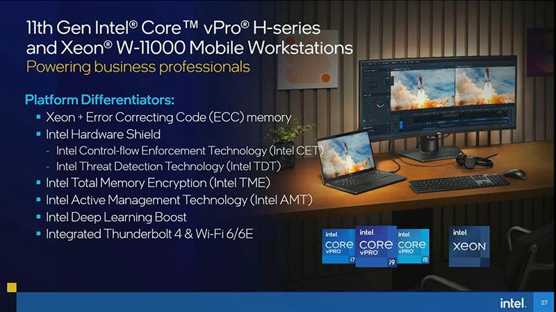 ECCメモリをサポートしたXeon W-11000で、モバイルワークステーションに対応