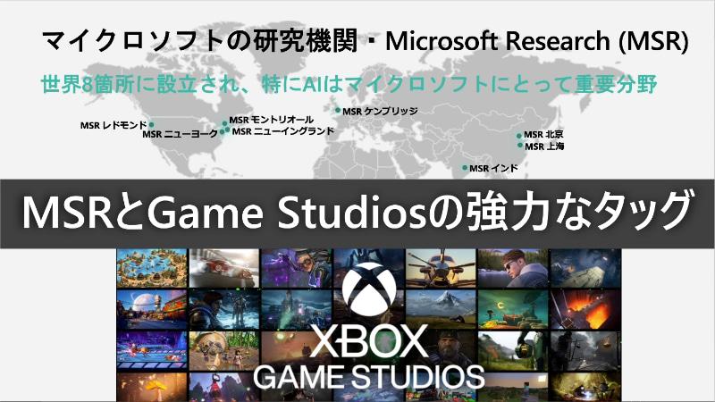 Microsoft ResearchとXbos Game Studiosが協力して開発支援