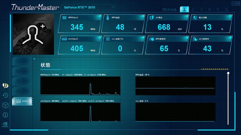 Thunder Masterではイルミネーション設定のほか、オーバークロックの設定やモニタリングなどが可能だ