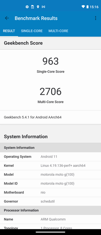 Geekbench 5.1.1(1/2)。Single-Core 963、Multi-Core 2,706