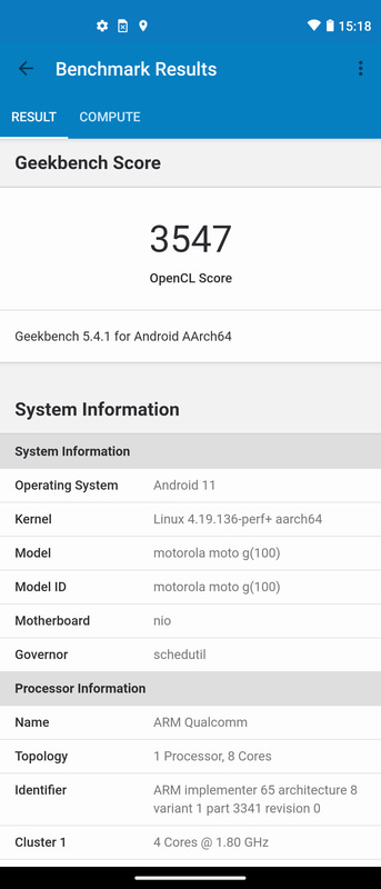 Geekbench 5.1.1(2/2)。OpenCL 3,547