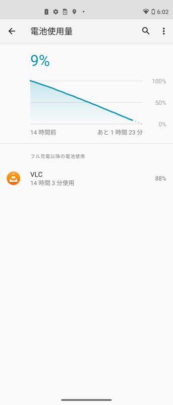 輝度/音量50%、Wi-Fi経由でフルHD動画を全画面連続再生。14時間経過で残9%