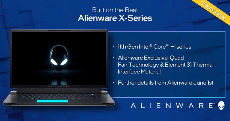 ALIENWARE Xシリーズ。6月1日にDellから詳細が明らかにされる見通し(出典:Real World Performance、Intel)