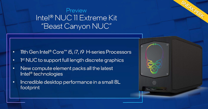 「Intel NUC11 Extreme Kit」(開発コードネーム:Beast Canyon)の概要(出典:Real World Performance、Intel)