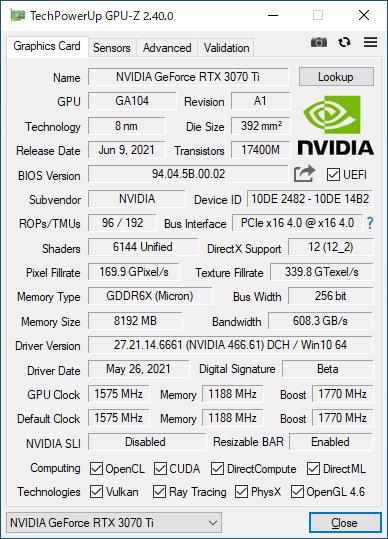 GeForce RTX 3070 Ti Founders EditionのGPU-Z実行画面