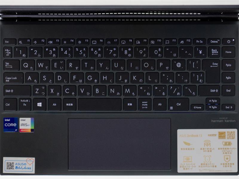 うまくまとまった日本語キーボード。ただし[Enter]の外側にキーがある。タッチパッドは結構長方形