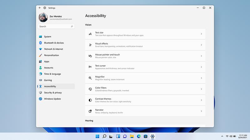 アクセシビリティ機能へのアクセスが容易になったWindows 11