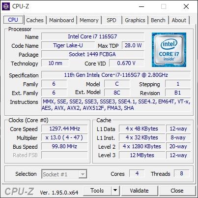 CPUにはモバイル向けのCore i7-1165G7を搭載。4コア8スレッドCPUで最高4.7GHzで動作する