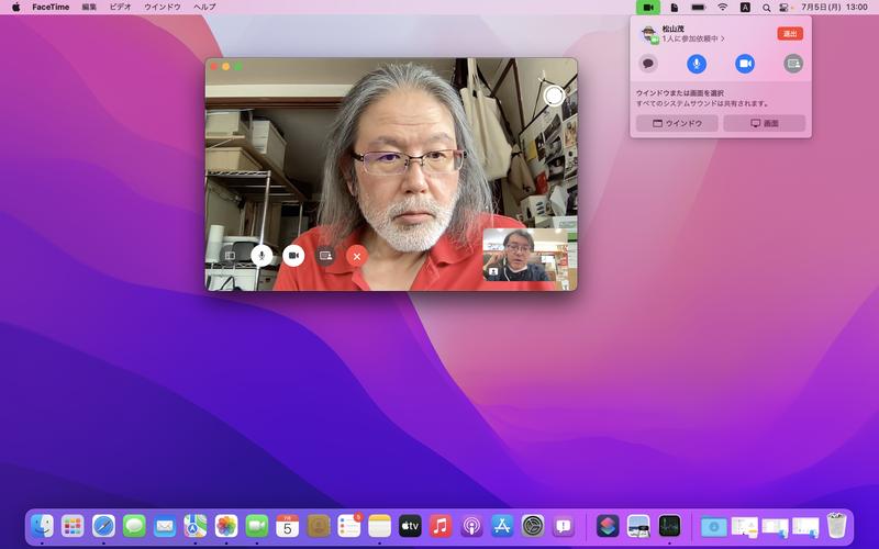 通話中の画面に追加された[画面共有]ボタンをクリックすると、メニューバー項目から共有元を選択できます。デスクトップ画面またはアプリやFinderウィンドウが相手に表示されるほか、システム音声も共有されます
