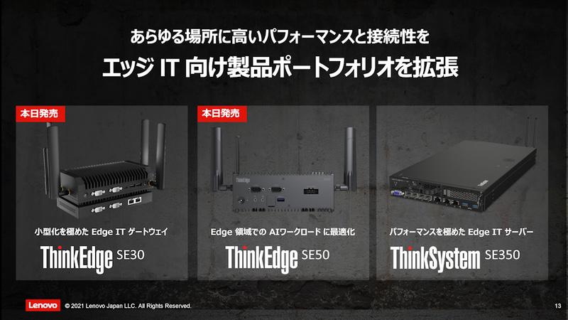 既存のThinkSystem SE350とあわせてエッジ向け製品を拡充