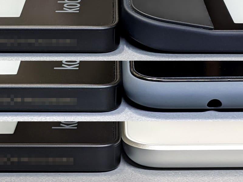 厚みの比較。左がいずれも本製品、右は上からKobo Forma、Fire HD 10、iPad。Kobo Formaのようなグリップ部と画面部の厚みの違いはほぼない