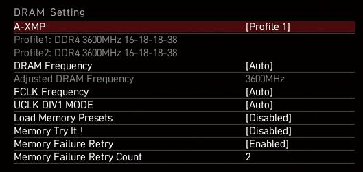 OCメモリはUEFIメニューでOCで動作するためのプロファイル「XMP」を有効にしないと定格で動作してしまう。たとえばDDR4-3600対応のOCメモリでも、定格ではDDR4-2666などになっていることがほとんどだ