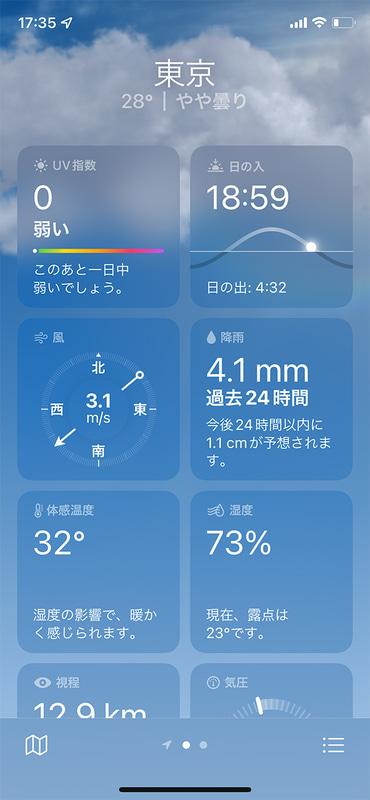 天気アプリは、下にスクロールしていくと「UV指数」「風」「降雨」「体感温度」などさまざまな情報を確認できます