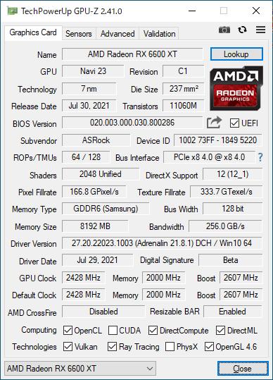 AMD Radeon RX 6600 XT Phantom Gaming D 8GB OCのGPU-Z実行画面