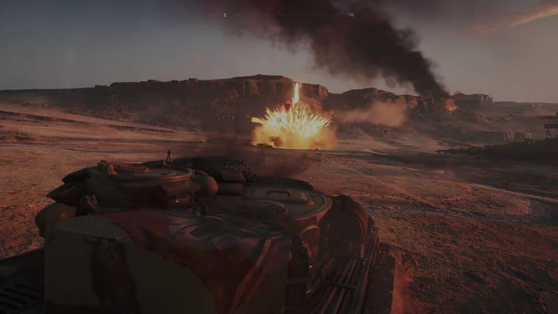 次のシーンは戦車での戦闘シーンだ。いきなり戦車の操縦を迫られるが、意外と簡単に操作出来て安堵する
