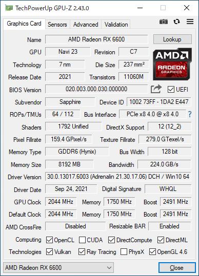 Sapphire PULSE AMD Radeon RX 6600 GAMING 8GBのGPU-Z実行画面