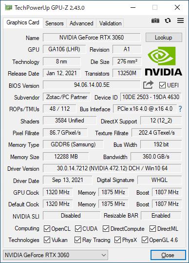 ZOTAC GAMING GeForce RTX 3060 Twin Edge OCのGPU-Z実行画面