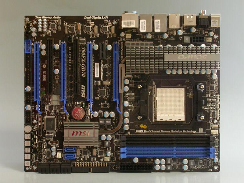 """【写真2】AMD 790FX+SB750を搭載するSocket AM3対応マザーボードMSI「<A href=""""http://www.msi-computer.co.jp/products/MB/790FX-GD70.html"""">790FX-GD70</A>」"""