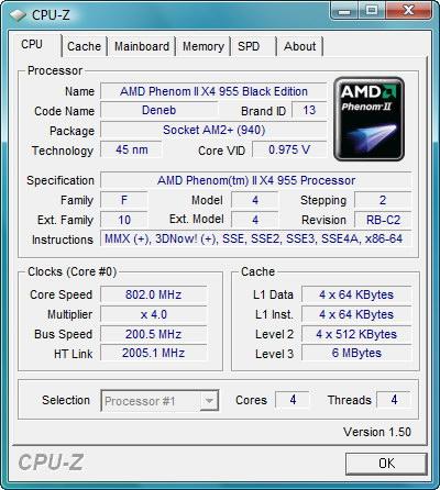 【画面1】CPU-Zの結果。コアはPhenom II X4 940 BEと同じC2リビジョン