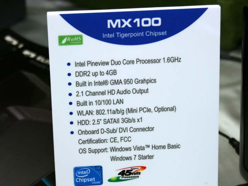 MX100のスペック。OSはWindows Vista Home BasicまたはWindows 7 Starterとなる