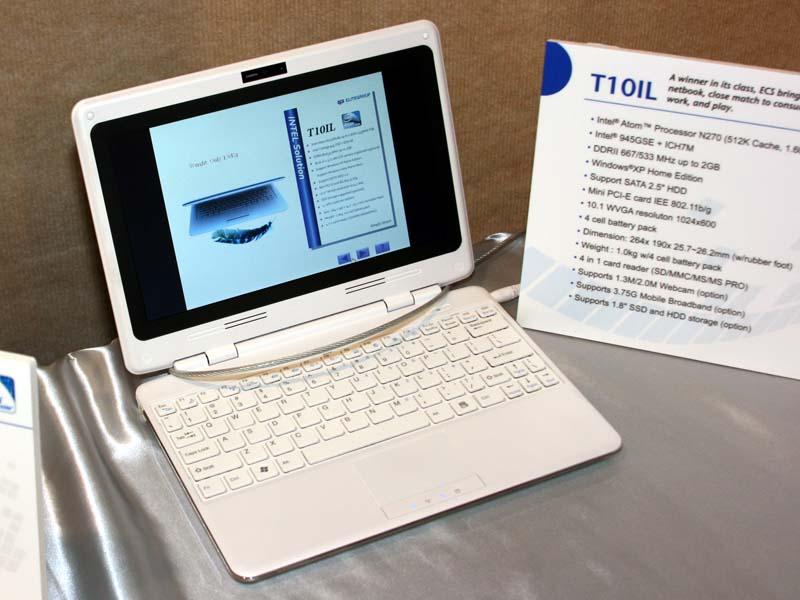 T10ILは10.1型1,024×600ドット液晶を搭載したネットブック。Atom N270+Intel 945GSEで、最大2GBまでのメモリ、4セルのバッテリを搭載可能。なお、T20IL、T10ILともに499ドル前後の価格が想定されている