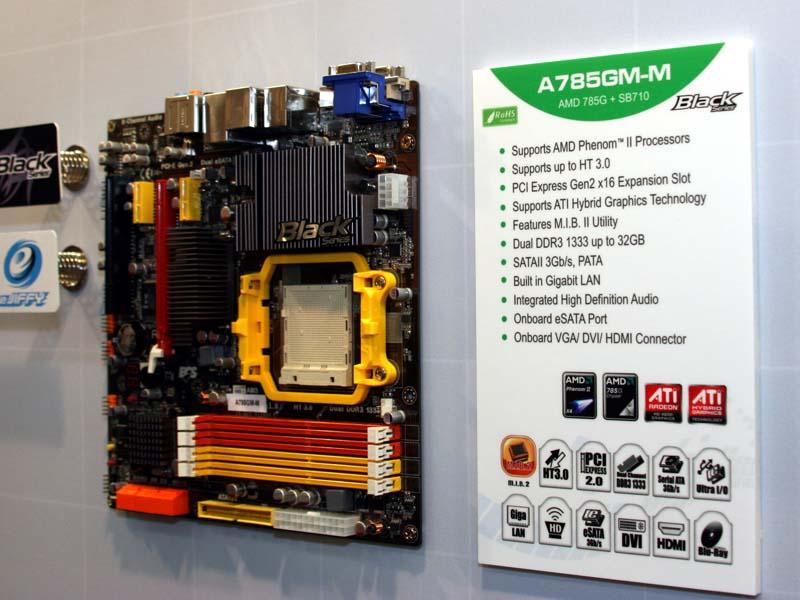 AMDの新チップセットAMD 785を搭載したA785GM-M。AMD 785はR700世代のGPUを統合している新しい統合型チップセット