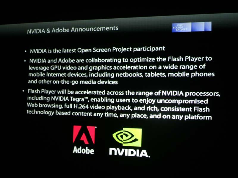 NVIDIAはAdobeと協力してFlash PlayerをTegraに最適化させると発表