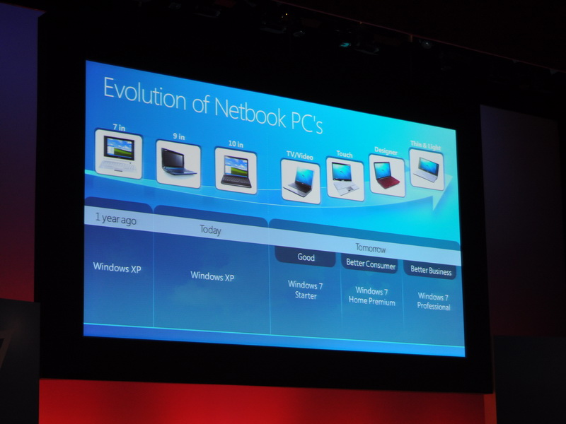 Windows 7は、ネットブックから薄型・軽量ノートまで全てのノートをカバーする