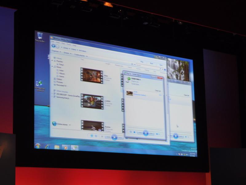 Windows 7上のメディアプレーヤーから、Windows Embedded対応機器にコンテンツを転送して再生が行えることを紹介