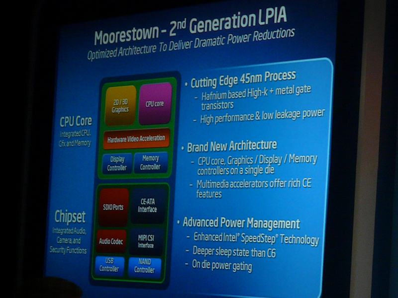 Moorestownのブロックダイヤグラム。CPUのLincroftはグラフィックス機能やメモリコントローラを統合