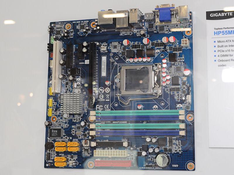 Intel P55搭載のmicroATXマザー「HP55MK」。コンシューマ向けではなく、HTPC向けなどに提供していくとのこと