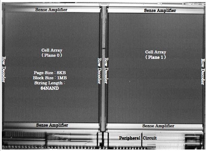 東芝とSanDiskが共同で2008年2月に国際学会ISSCCで共同発表した16GbitのNANDフラッシュメモリ。製造技術は43nm CMOS。チップ寸法は12.96×9.28mm。チップの大半をメモリセルアレイが占める