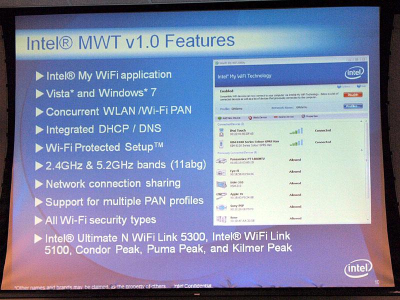 【写真2】現行のMWT v1.0ソフトウェアがサポートするフィーチャー。一番下にあるCondor Peak、Puma Peak、Kilmer Peakは、次世代Calpellaプラットフォーム用の無線LANモジュールだと思われる