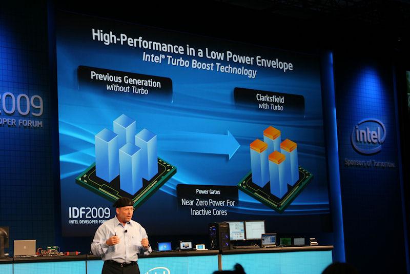 Intel Turbo Boost Technologyの説明。コア数が少ないときには、よりクロックを上げることができる