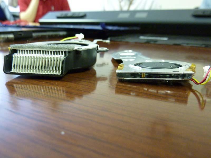 VAIO type Tに採用されていたファンもノートPC用としても相当にコンパクトだが、それと比べて圧倒的に薄くなっていることがわかる