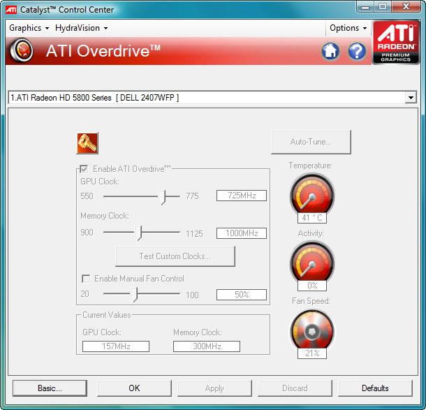 【画面1】ATI OverDriveの設定画面。アイドル時の動作クロックはRadeon HD 5870と同じ