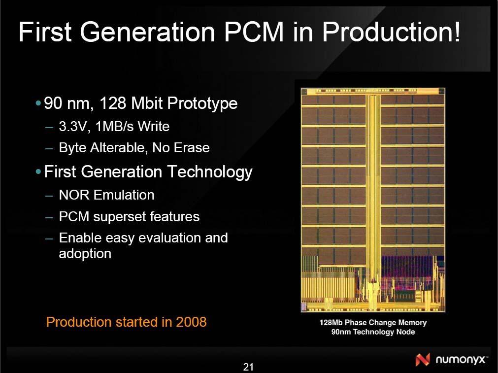 Numonyxの128Mbit相変化メモリ
