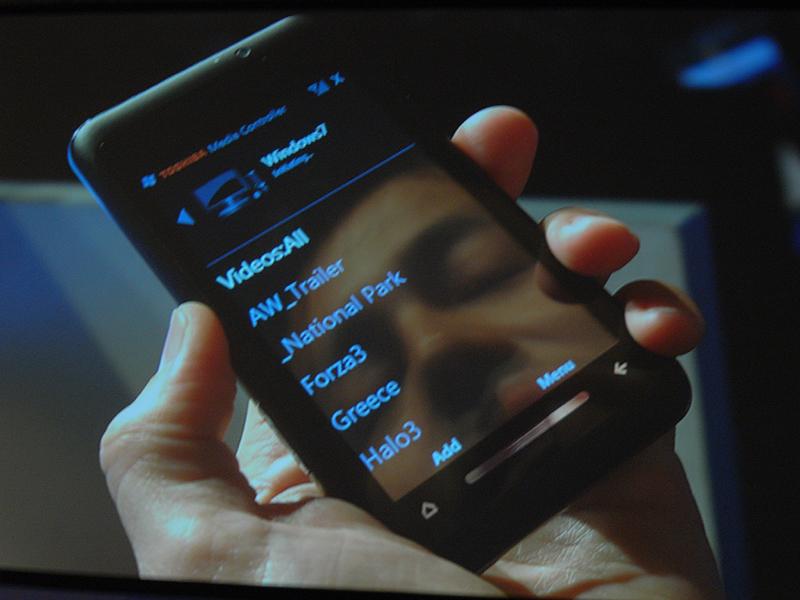 東芝製のWindows Mobile端末をリモコン代わりとしてMedia Playerにファイルを再生させたところ
