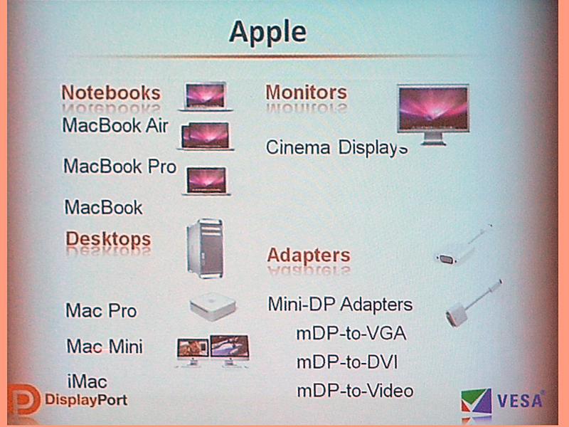 AppleのDisplayPort対応製品。v1.2にはMini DisplayPortも取り込まれた