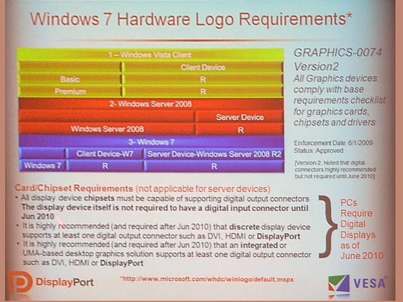 Windows 7のロゴプログラム要件の変化。2010年7月にはデジタルディスプレイ出力が必須に
