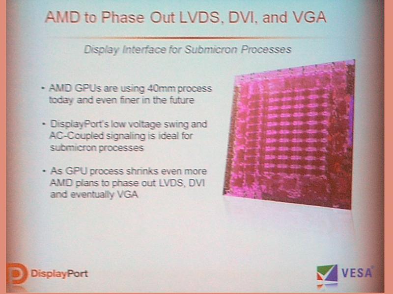 AMDはプロセスを微細化していくことで最終的にはLVDS、DVI、そしてアナログVGAをフェイズアウトさせていく