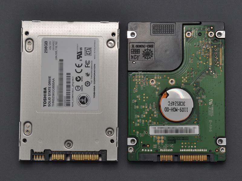 サイズやネジ穴の位置は、2.5インチHDDと全く同じだ