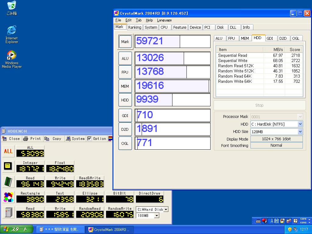 フルスクリーン表示での各ベンチマークテスト。ウィンドウ表示と比較して、フルスクリーン表示の方がグラフィックス系の値は高い