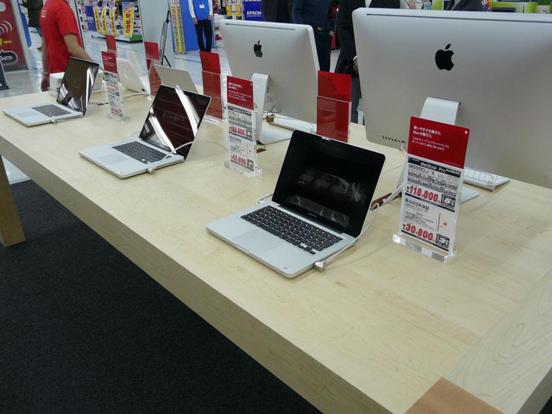 Macに直接触れることができる展示が特徴