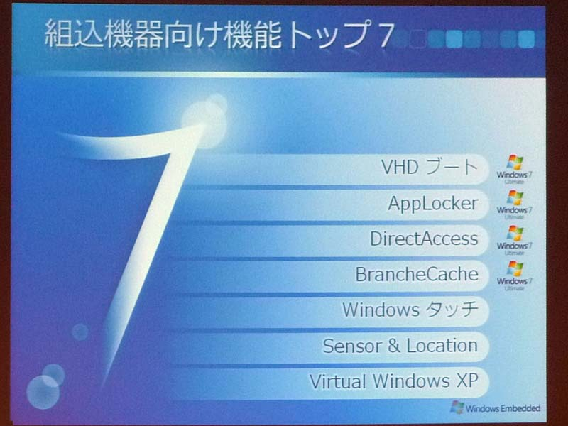 Windows 7で組み込み機器に有用だと思われる機能。上の4つはWindows 7 Ultimateのみの機能