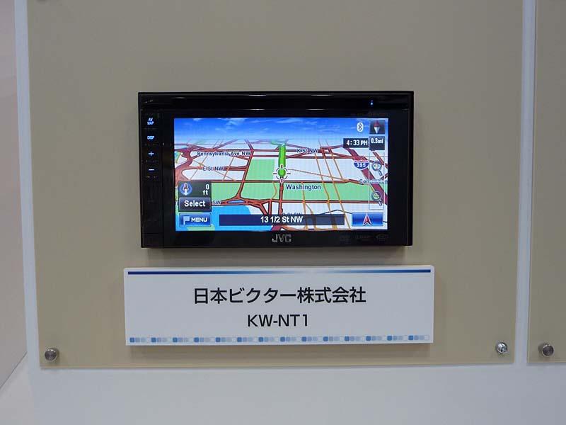 Windows Automotiveを搭載したカーナビの画面例。日本ビクターの「KW-NT1」。ET2009のマイクロソフト展示ブースで撮影